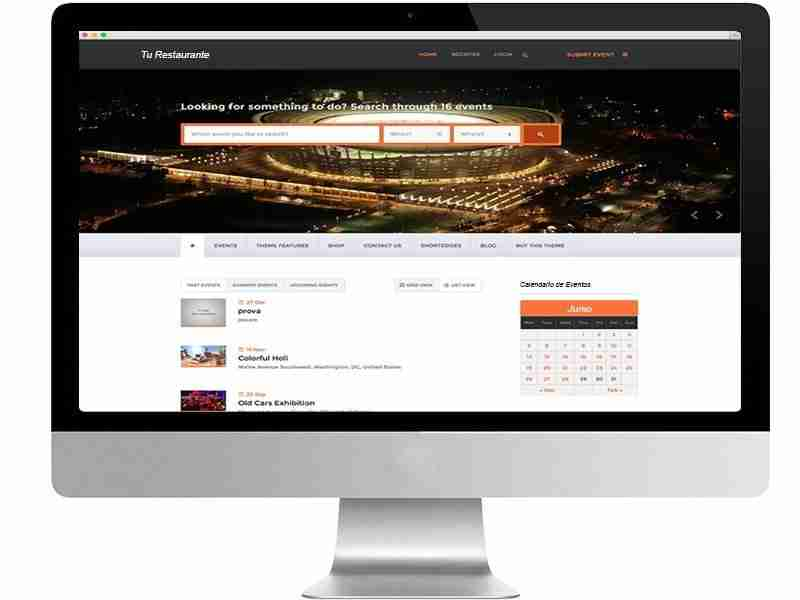 Calendario de eventos para páginas web de restaurantes. Hostelería Ecuador