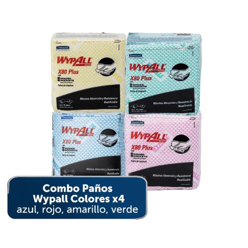 Paños WypAll X80 Plus de colores con Power Pockets